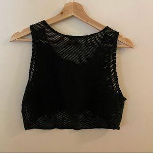 🌹4/16🌹Vintage mesh black crop top
